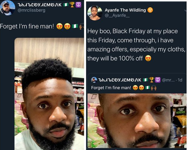 Nigerian lady shoots her shot at a 'fine man' on Twitter with a special #BlackFriday offer