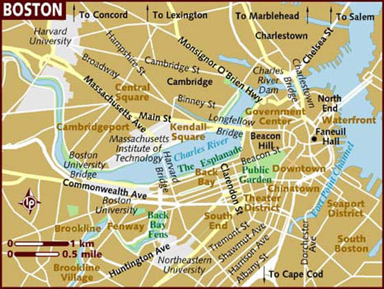 Cartes De Boston Cartes Typographiques Détaillées De