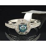 Ladies 10K White Gold Halo White Blue Diamond Engagement Ring Wedding Bridal Set