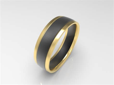 xv brushed yellow  black gold mens wedding band
