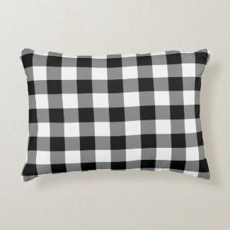 Classic Black and White Gingham Pattern Accent Pillow