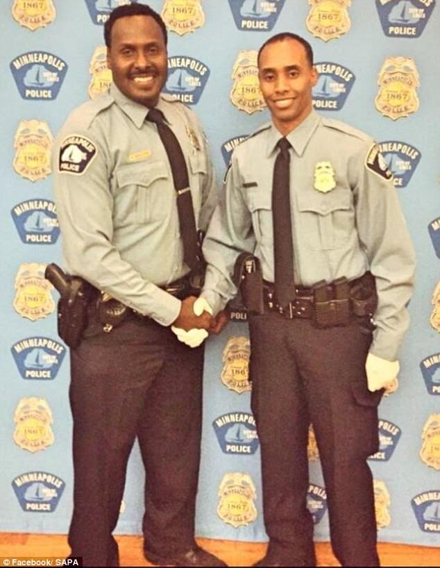 Pride: This picture dates from 2015 and shows Officer Noor being inducted into the Somali American Police Association