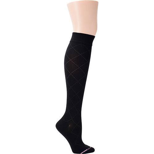 Dr. Motion Womens Diamond Pattern Knee High Socks Black