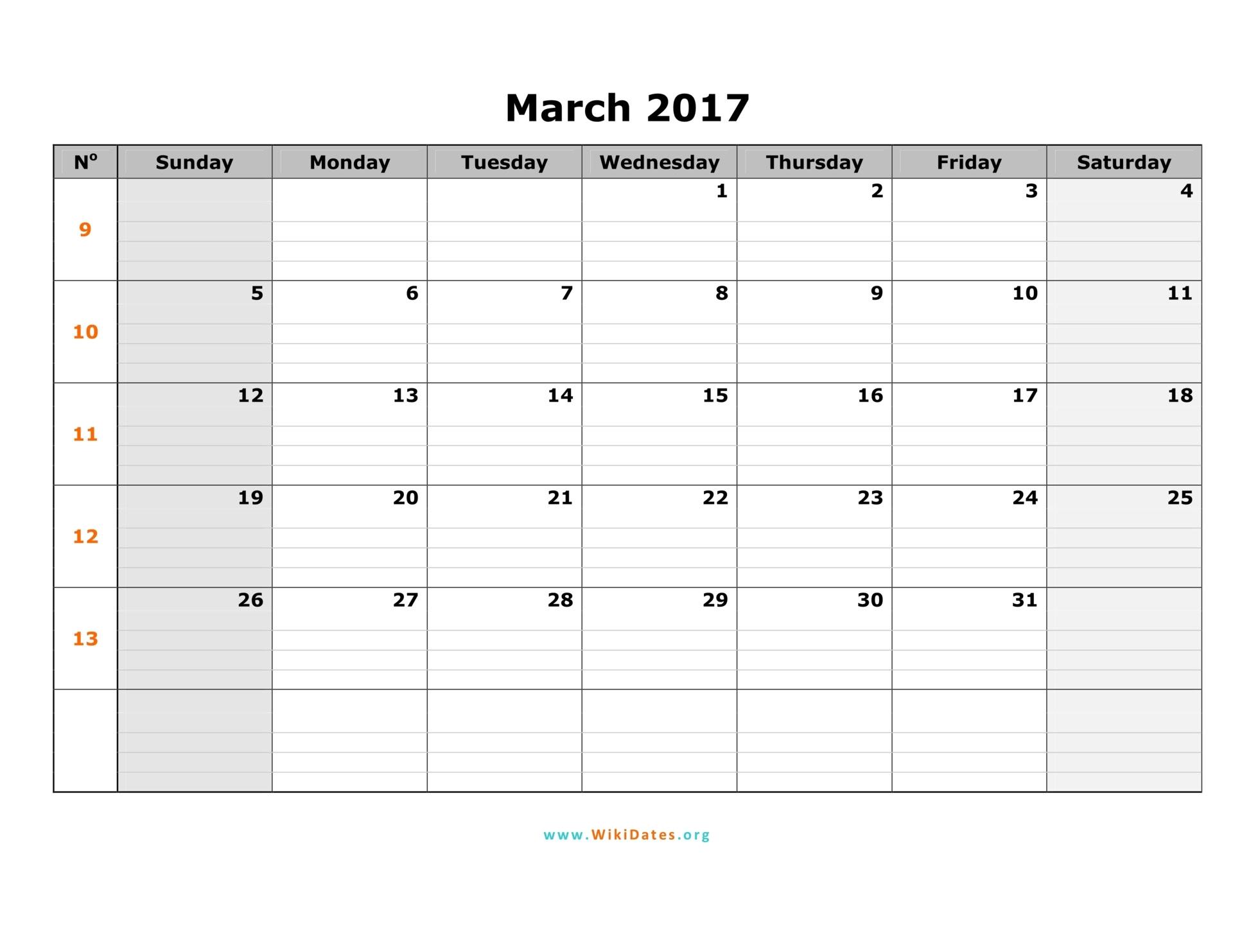 March calendar 2017 template pdf