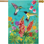 Hummingbird Greeting Spring House Flag