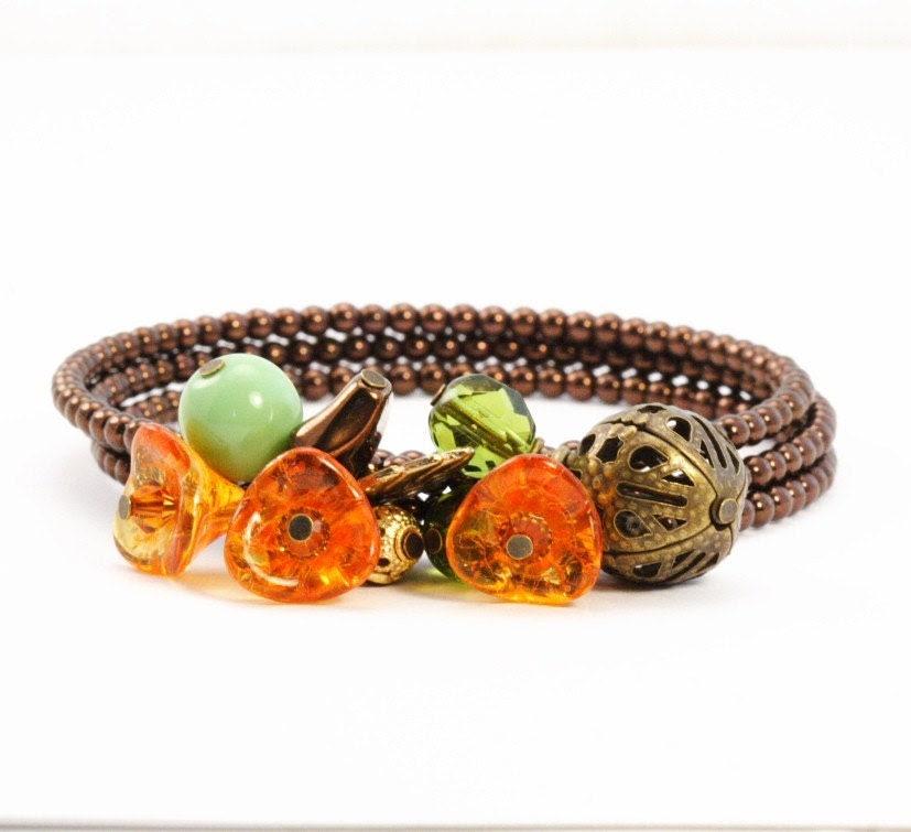 Vintage Look Marmalade Posy Bracelet