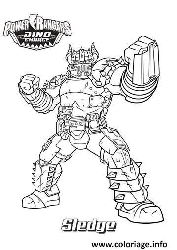 Coloriage Power Rangers Dino Charge Sledge Jecoloriecom