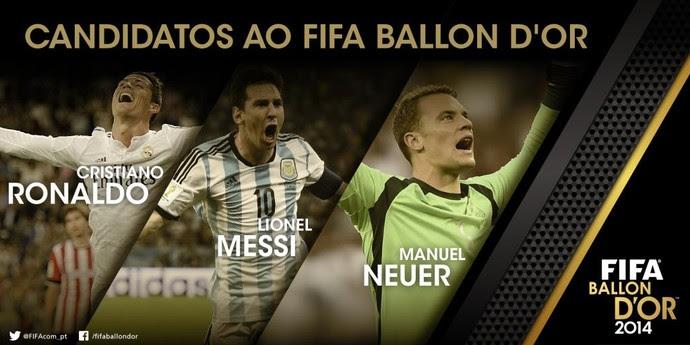Bola de Ouro Cristiano Ronaldo Messi Neuer (Foto: Reprodução/Twitter)