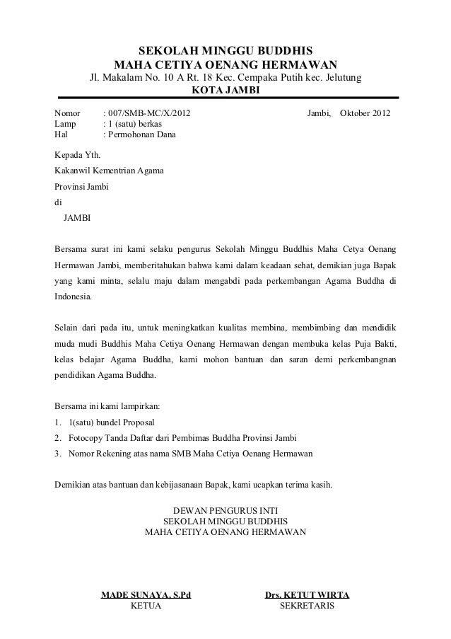 Contoh Surat Rasmi Permohonan Dana Surat Rasmi H