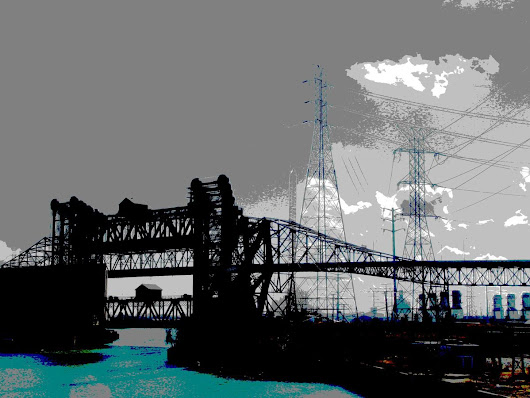 Lift Bridges Meet Skyway Bridge, Chicago (2014) Manipulated photograph (giclée) by Leon Sarantos