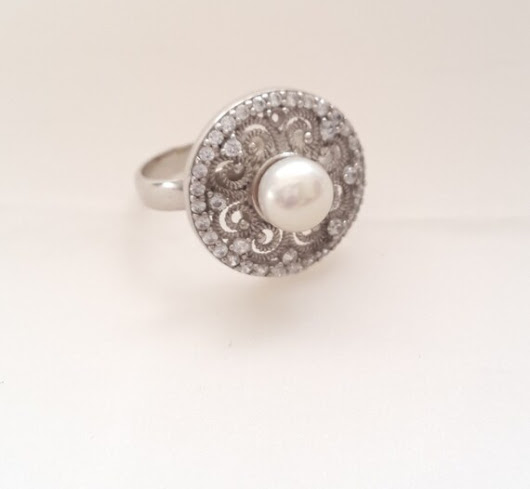 Sterling Silver Ring Silver Ring Filigree Ring Pearl by Rosestyle