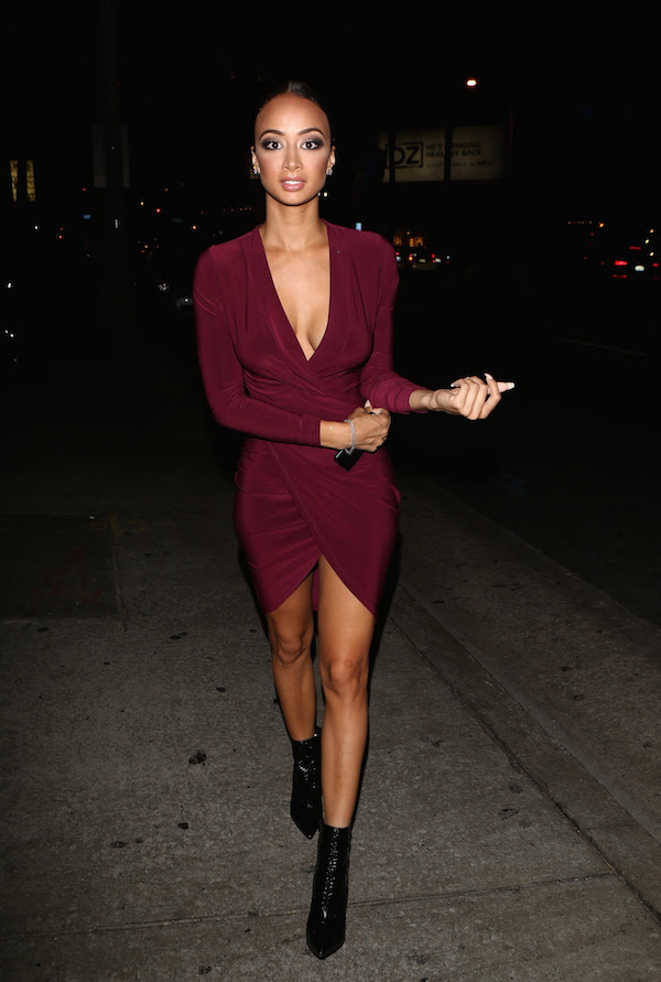 Draya Michele's Just Enaj Enaj Sensation Bodycon Dress in Oxblood and Christian Louboutin Python Heels