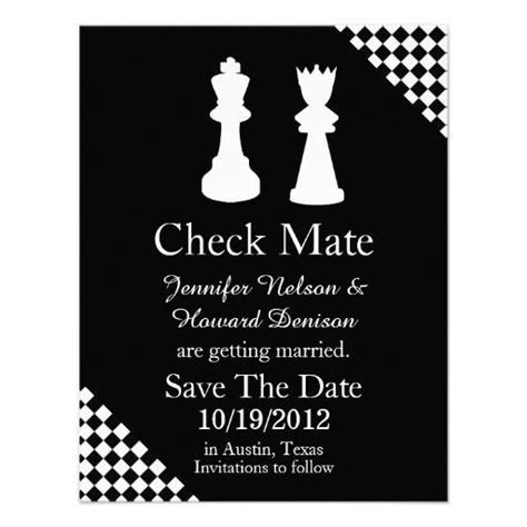 Chess Pieces Wedding Save The Date Announcement   Zazzle