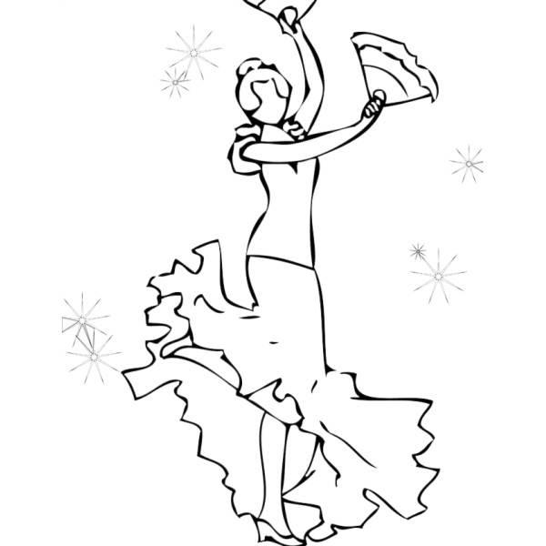 Disegno Di Ballerina Di Flamenco Da Colorare Per Bambini