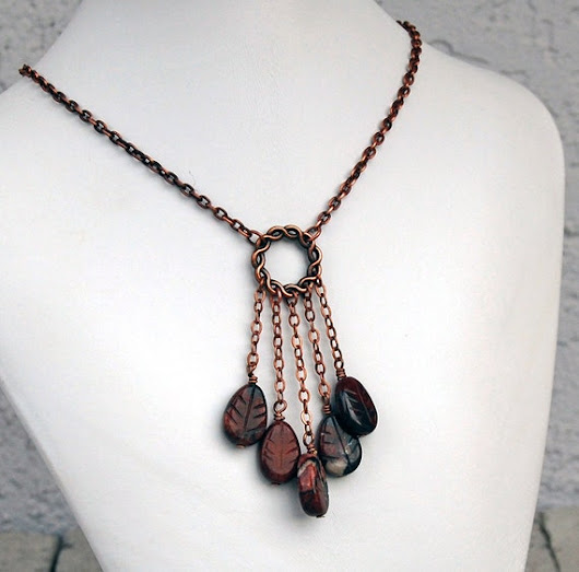 Dream Catcher Necklace Brecciated Jasper Antiqued Copper Y