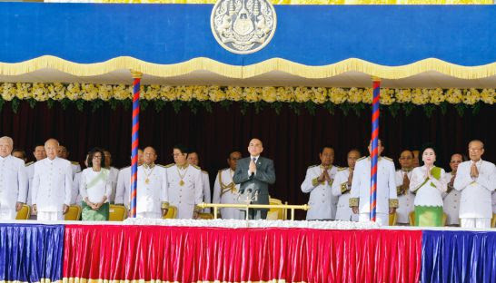 King Norodom Sihamoni outside the Royal Palace yesterday to mark the 10th anniversary of his coronation in 2004