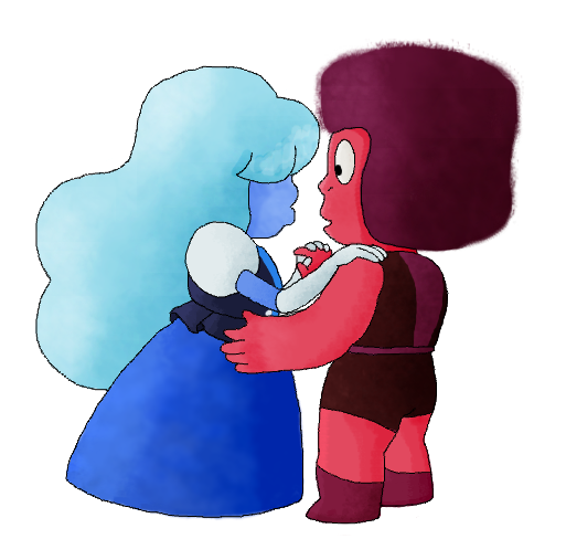 """I… I've seen gems fuse before. But I had no idea that's what it felt like. I always thought… I never realized that fusion… That you disappear like that."" Just a quick drawing of the OTP. :)"