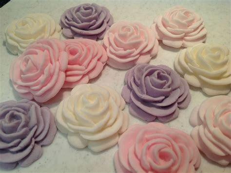 EDIBLE ICING SUGAR ROSE FLOWER CUPCAKE TOPPER, BIRTHDAY