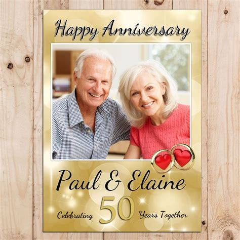 Personalised Golden 50th Wedding Anniversary Party PHOTO