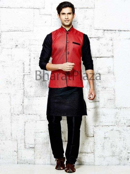 Admirable Kurta With Red Jacket   Kurta Pajama With Nehru