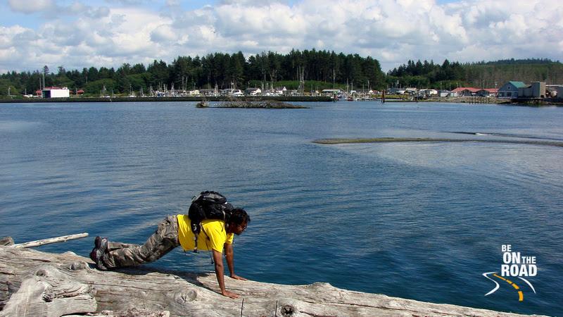 Knocking down pushups at Rialto beach, Olympic Peninsula, Washington State, USA