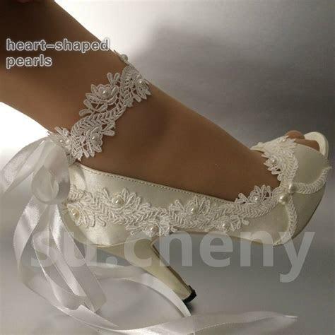 "3"" 4"" heel satin white ivory lace ribbon ankle open toe"