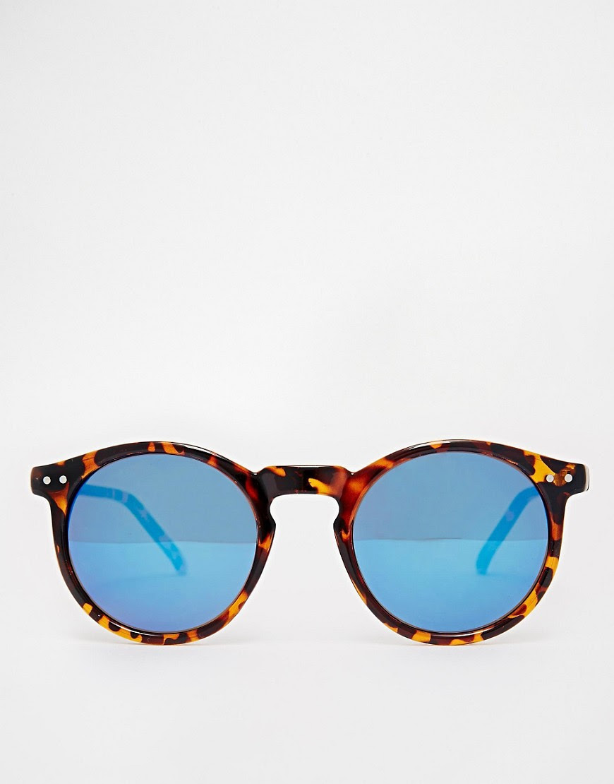 Image 2 of ASOS Skinny Frame Round Sunglasses With Flash Lens