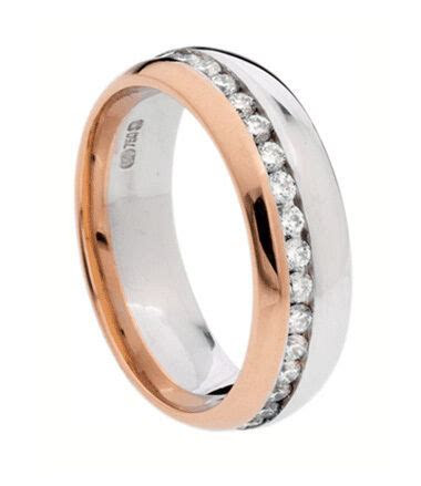 WOMENS 10K WHITE AND ROSE GOLD ANNIVERSARY WEDDING BANDS