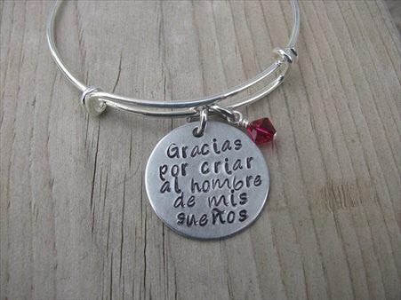 Spanish Quote Mother In Law Bracelet Gracias Por Criar Al Hombre
