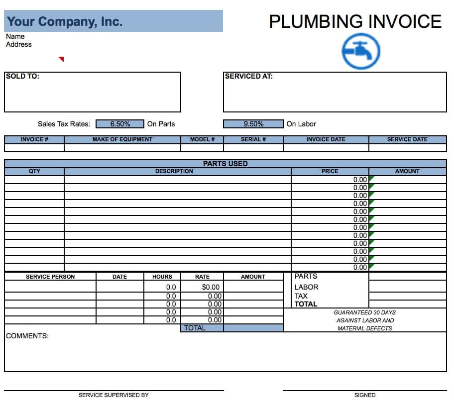 plumbing invoice template microsoft excel