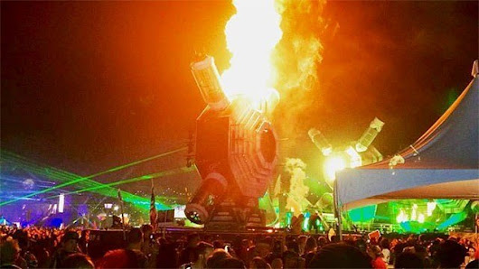 Prop on EDC stage catches fire