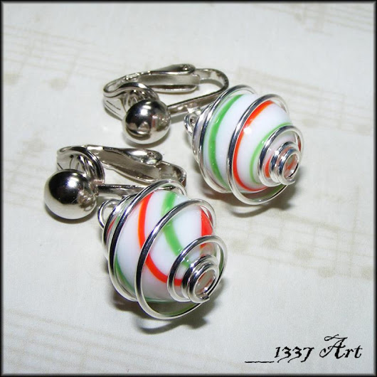Christmas Clip On Earrings Silver Hypoallergenic Red and Green Earrings by 1337art on Zibbet