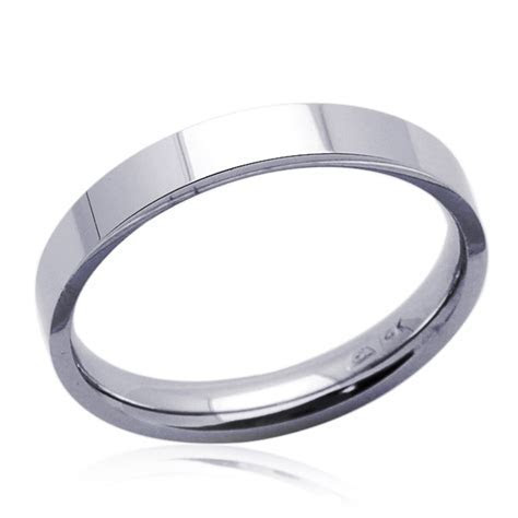 Men Women 14K White Gold 3mm Plain Flat Wedding Band Right