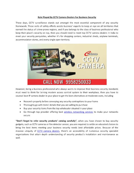 Role Played By CCTV Camera Dealers For Business Security