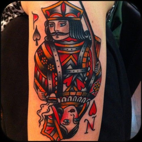 King And Queen Card Tattoo By Nick Oaks Tattoomagz