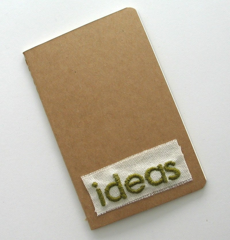 ideas - moleskine cahier with hand-embroidered cover