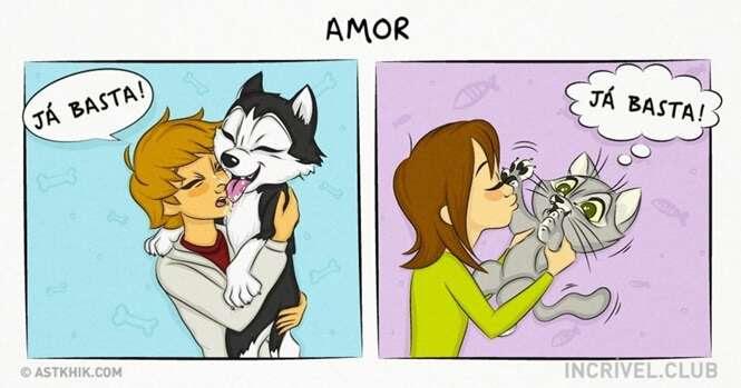 Quadrinhos que mostram a diferença entre viver com um cão e com um gato