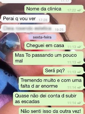 Maria Brandão disse à suposta biomédica que estava passando mal em Goiânia, Goiás (Foto: Aracylleny Santos/ Arquivo Pessoal)