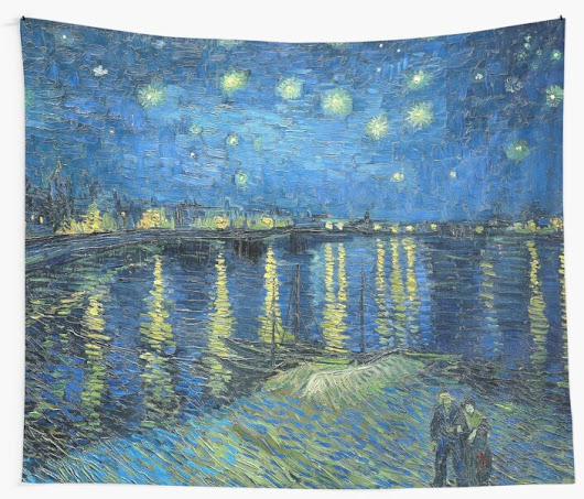 'Starry Night Over the Rhone' Wall Tapestry by Igor Drondin