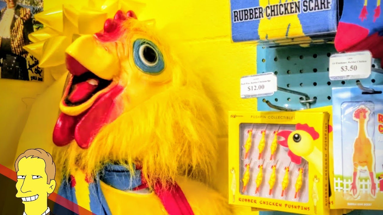 yellow chicken costume and other souvenirs at the Archie McPhee World Famous Rubber Chicken Museum