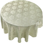 "Carnation Home Fashions Rose Damask 70"" Round Fabric Tablecloth in Sage"