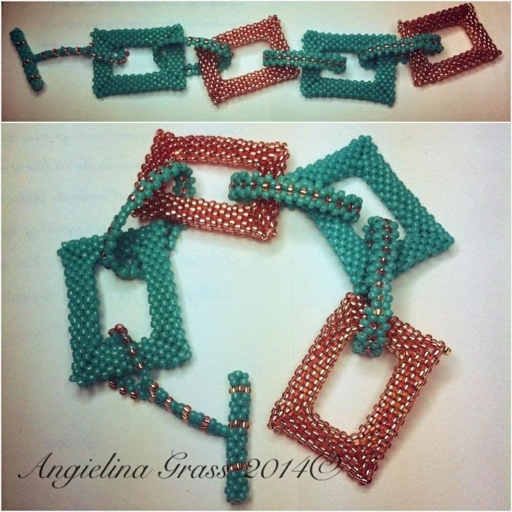 turquoise & copper beaded open rectangles bracelet   flat peyote stitch; size 11 seed beads.