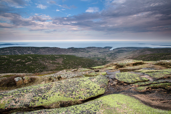late day light from the top of Cadillac Mountain, Acadia National Park