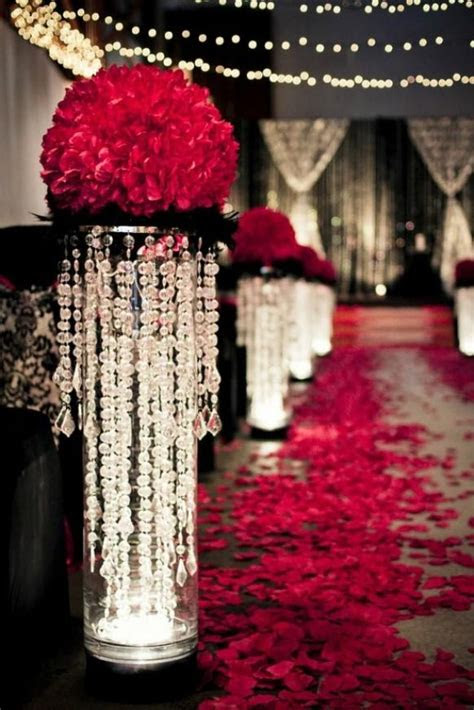 valentines day christmas wedding red rose aisle decor