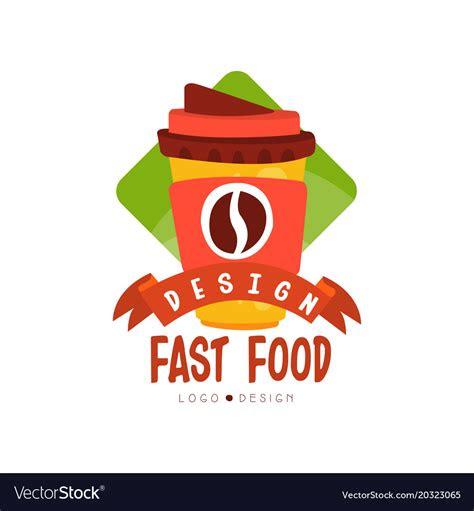 fast food logo design badge  coffee  vector image
