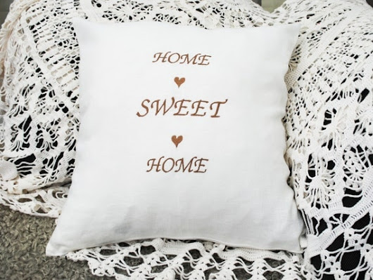 Home Sweet Home white embroidered linen pillow cover by leonorafi