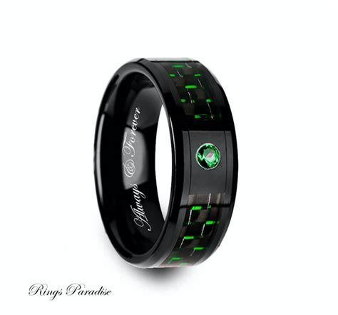 Ceramic Ring, Emerald Stone Mens Black Ceramic Ring, Green
