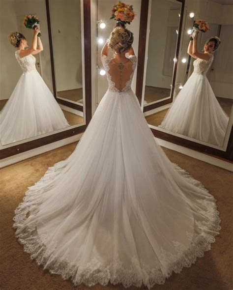 Elegant Lace Cap Sleeves Nude Back Tulle Wedding Dresses