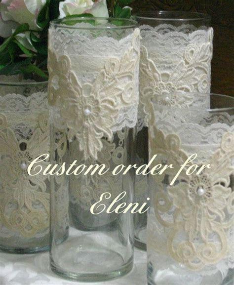 Vintage lace flower wedding vases, wedding centerpiece