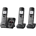 Panasonic Link2Cell Expandable Cordless Phone with 3 Handsets - Metallic Black